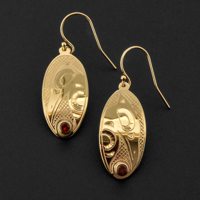 Raven - 14k Gold Earrings with Garnet