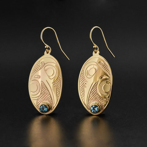 Hummingbird - 14k Gold Earrings with Blue Topaz