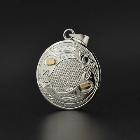Salmon - Silver Pendant with 14k Gold