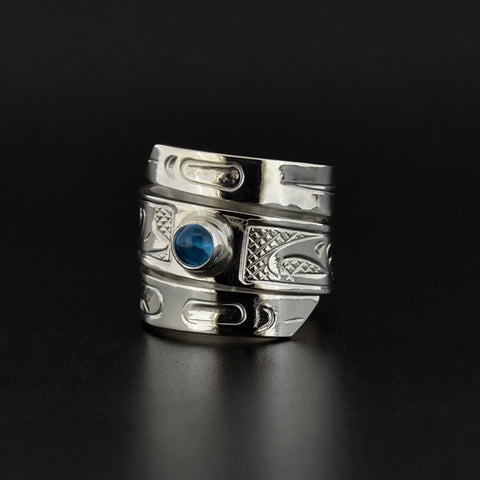 Raven and Eagle - Silver Ring with Topaz