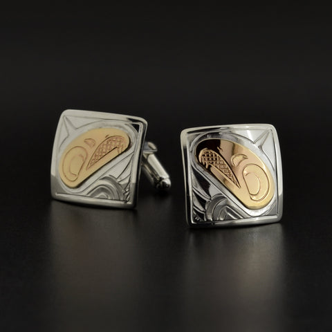 Eagles - Silver Cufflinks with 14k Gold