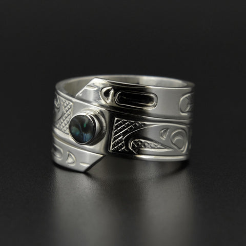 Eagle - Silver Wrap Ring with Abalone