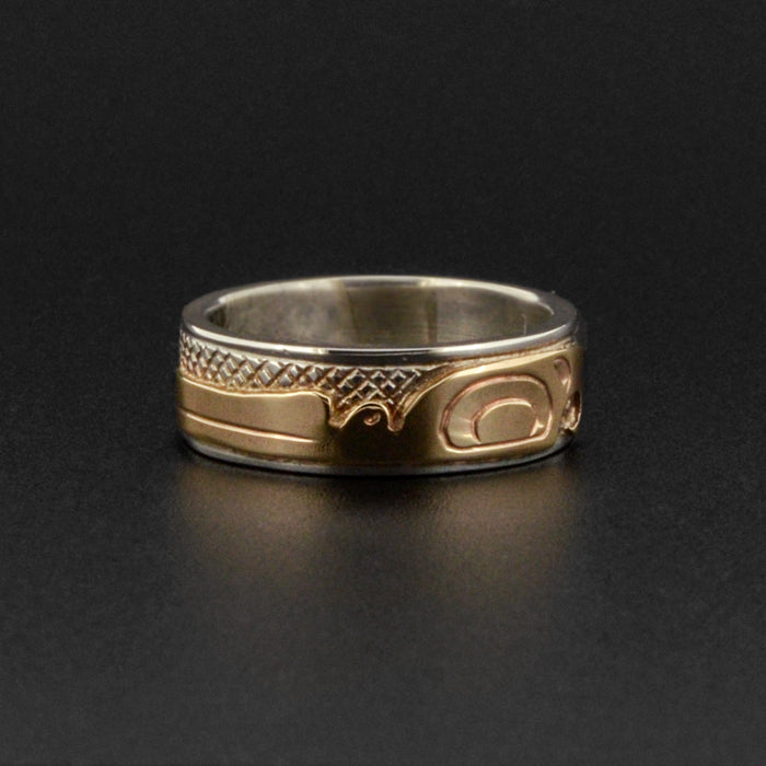 Hummingbird - Silver Ring with 14k Gold