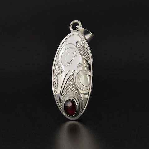 Hummingbird - Silver Pendant with Garnet