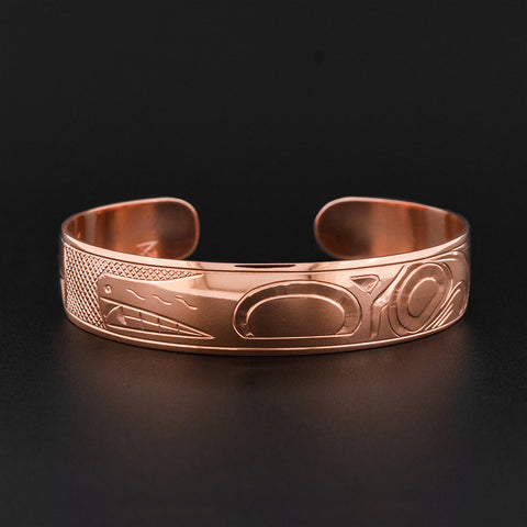 Wolf and Moon - Copper Bracelet
