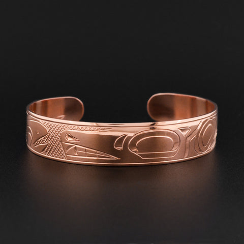 Wolf and Salmon - Copper Bracelet