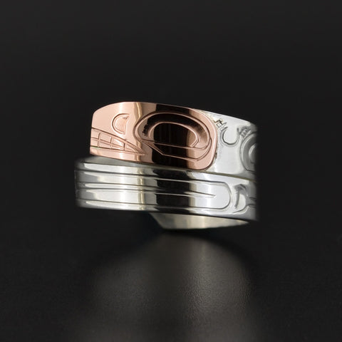 Killerwhale - Silver Wrap Ring with 14k Rose Gold