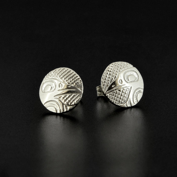 Ravens - Silver Stud Earrings