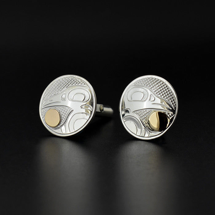 Raven and the Light - Silver Cufflinks with 14k Gold