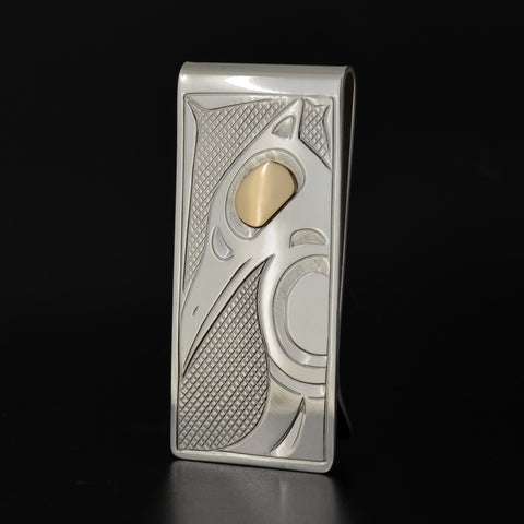 Raven - Silver Moneyclip with 14k Gold