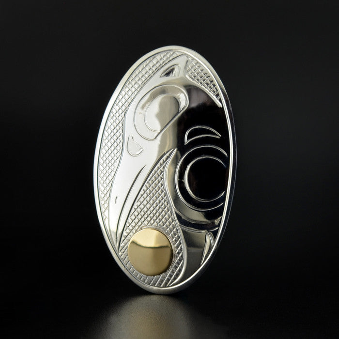 Raven and the Light - Silver Pin-Pendant with 14k Gold