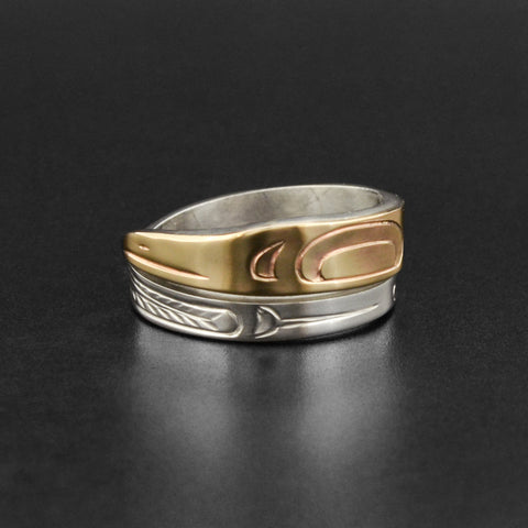 Raven - Silver Ring with 14k Gold