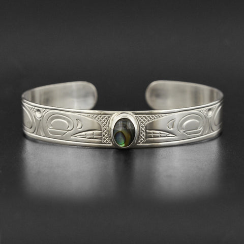 Killerwhales - Silver Bracelet with Abalone