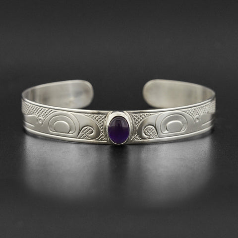 Hummingbirds - Silver Bracelet with Amethyst