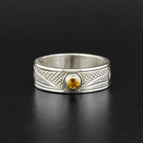 Raven - Silver Ring with Citrine