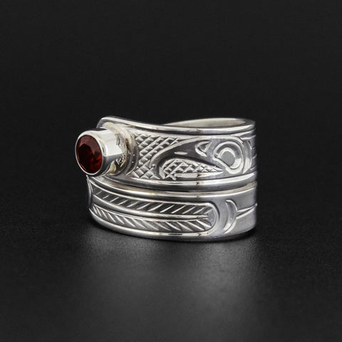 Eagle - Silver Wrap Ring with Garnet