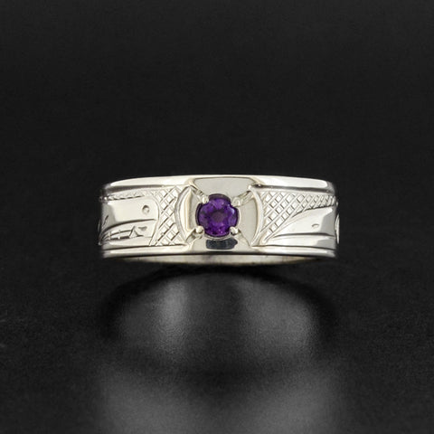 Wolf and Raven - Silver Ring with Amethyst