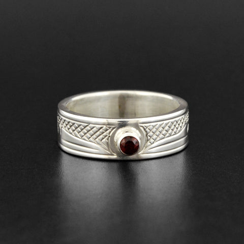 Hummingbird - Silver Ring with Garnet