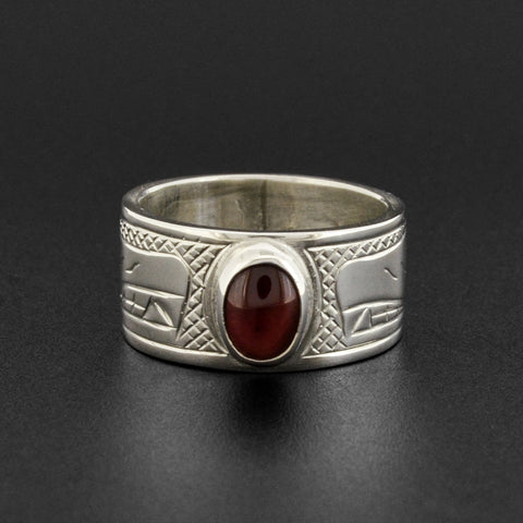 Wolves - Silver Ring with Garnet