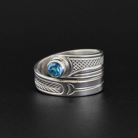 Hummingbird - Silver Wrap Ring with Topaz
