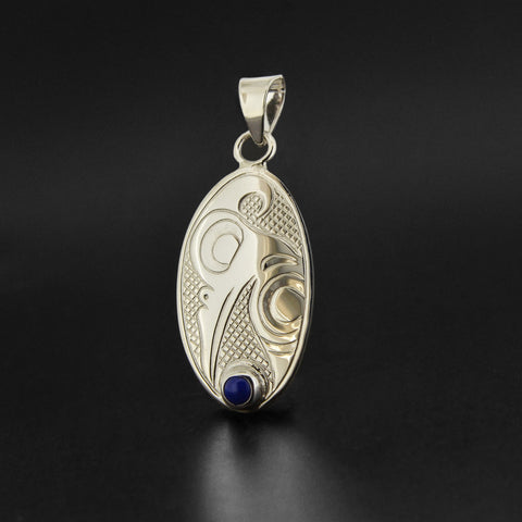 Hummingbird - Silver Pendant with Lapis