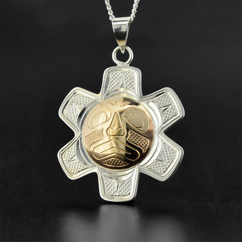Sun - Silver Pendant with 14k