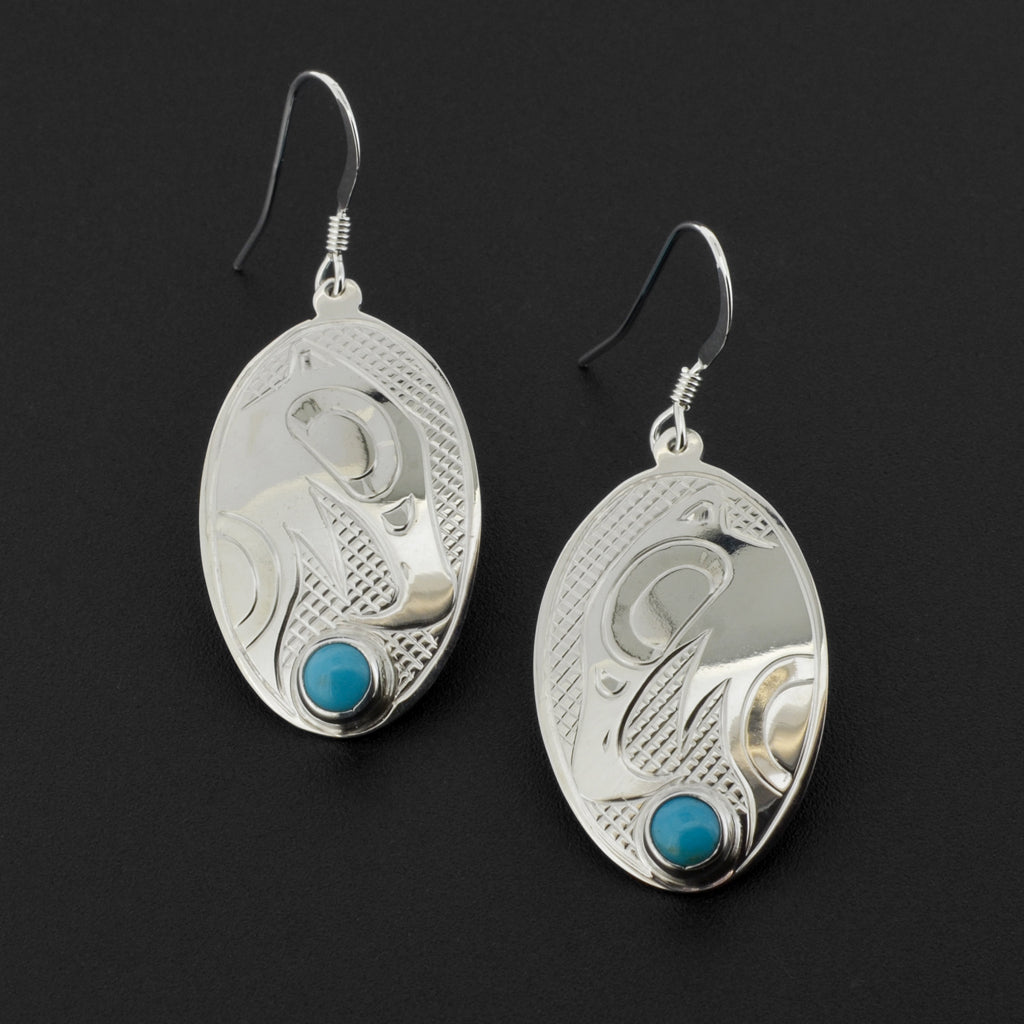 Eagle - Silver Earrings with Turquoise