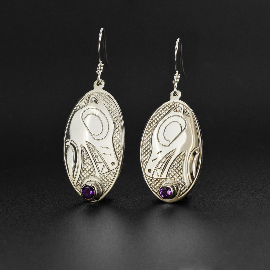 Wolf - Silver Earrings with Amethyst