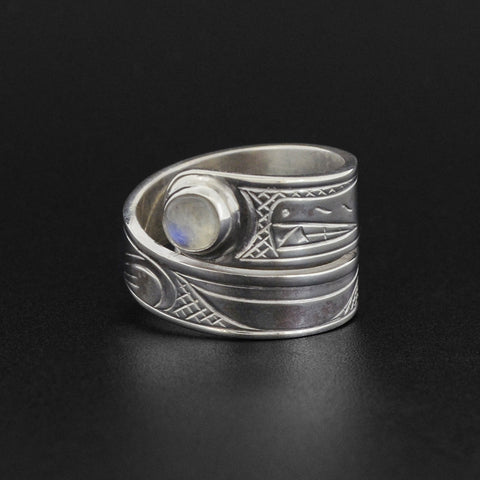 Wolf - Silver Wrap Ring with Moonstone