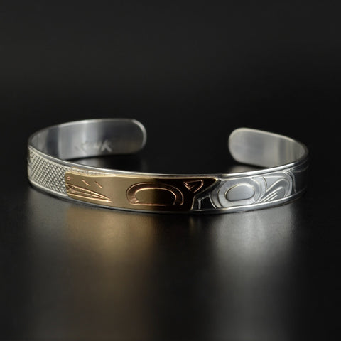 Wolf - Silver Bracelet with 14k Gold