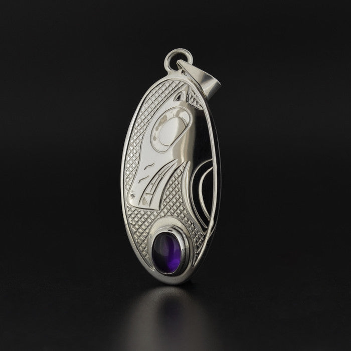 Wolf - Silver Pendant with Amethyst