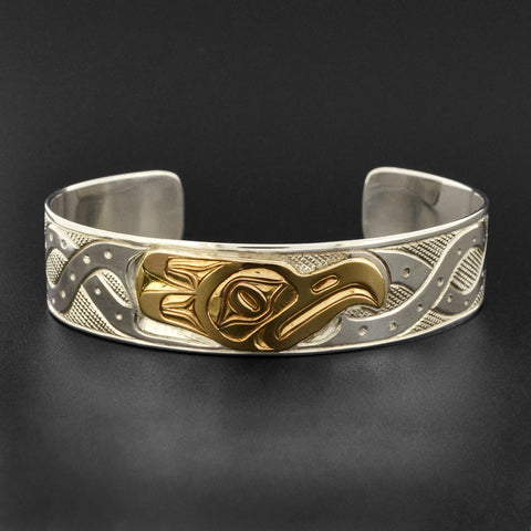 Octopus - Silver Bracelet with 14k Gold