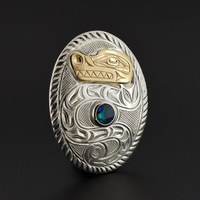 Lightning Snake - Silver Pendant with 14k Gold and Abalone