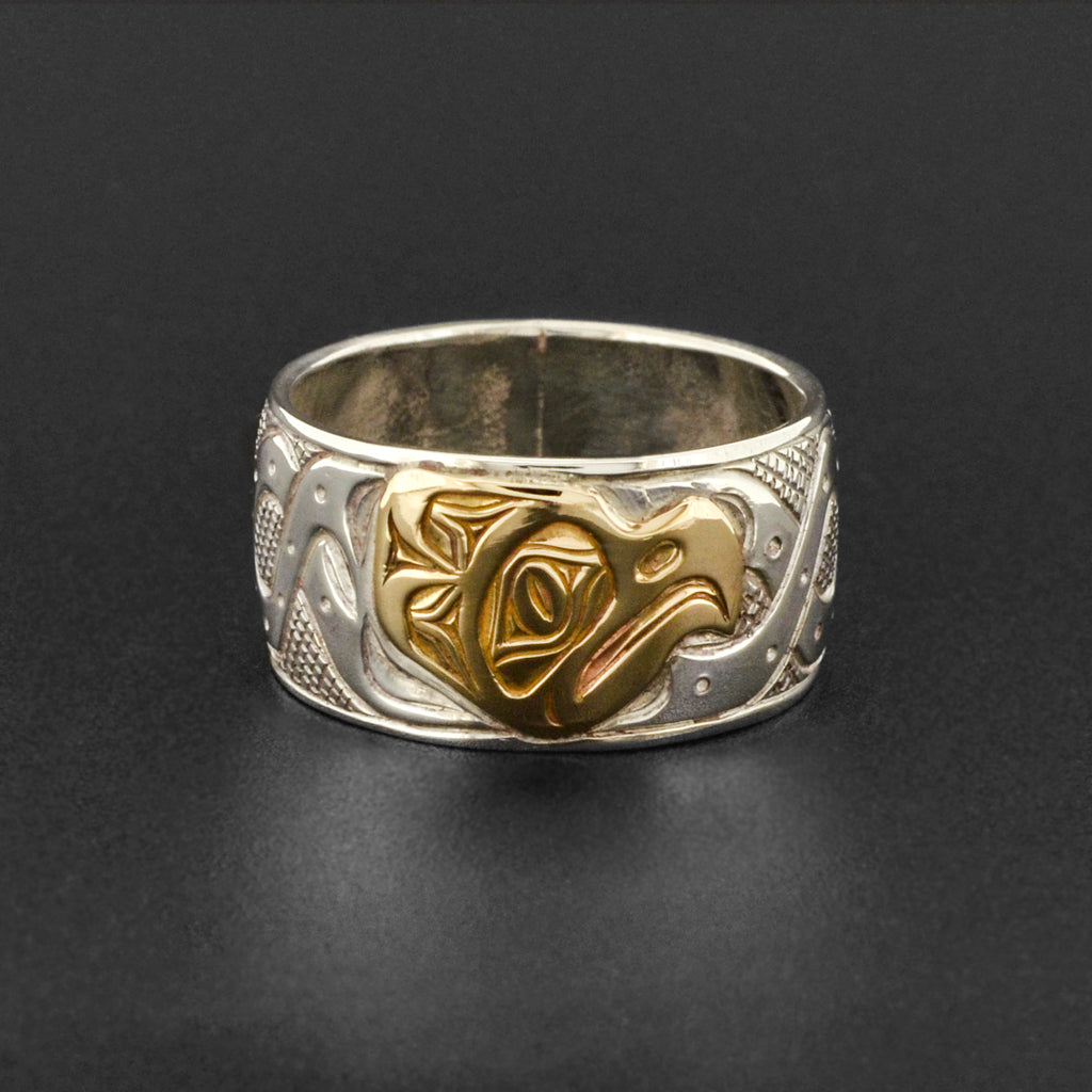 Octopus - Silver Ring with 14k Gold