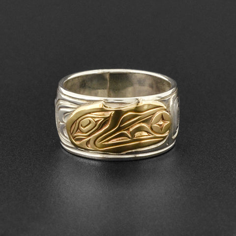 Raven and Light - Silver Ring with 14k Gold
