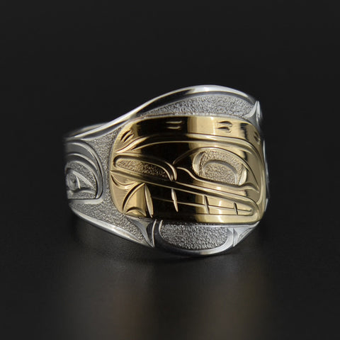 Killerwhale - Silver Ring with 14k Gold