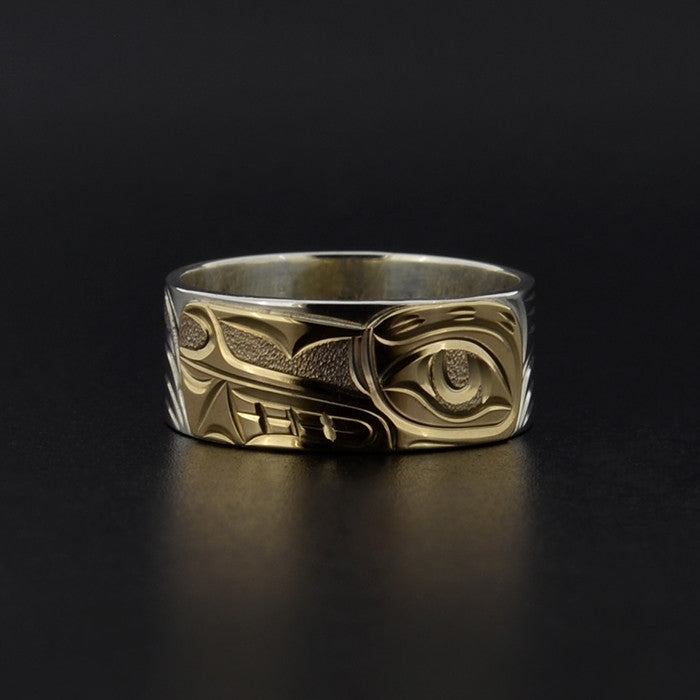 Wolf - Silver Ring with 14k Yellow Gold