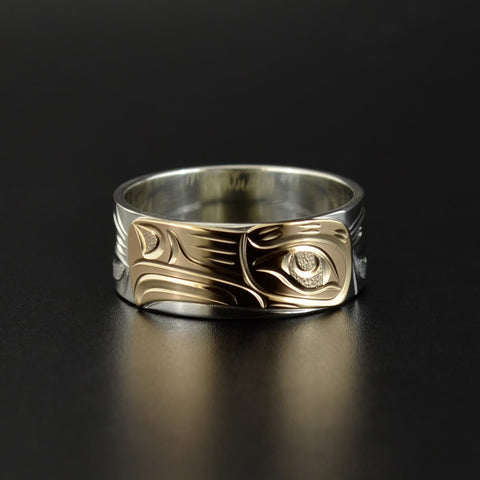 Eagle - Silver Ring with 14k Yellow Gold