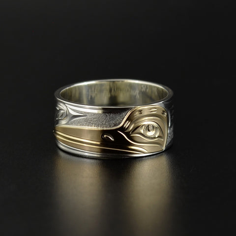 Hummingbird - Silver Ring with 14k Yellow Gold