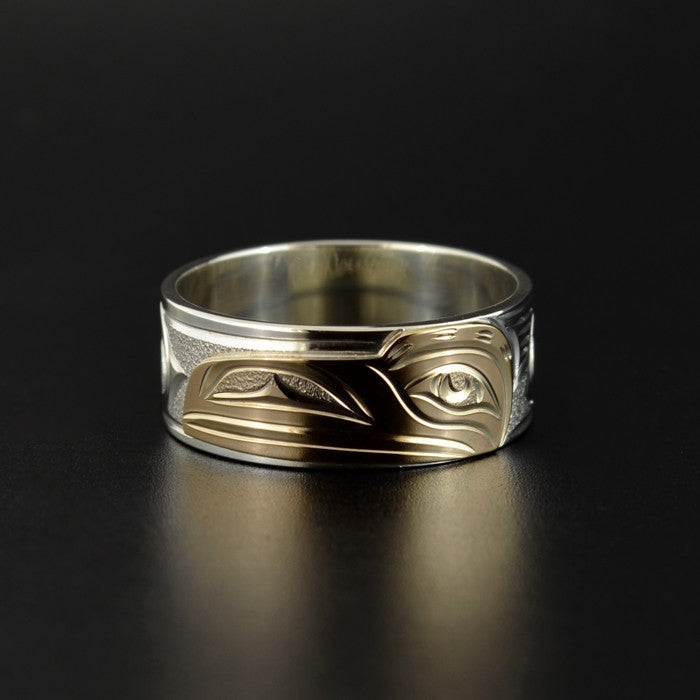 Raven - Silver Ring with 14k Yellow Gold