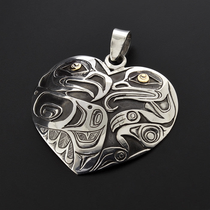 Frog and Eagle - Silver Pendant with 14k Gold Overlay