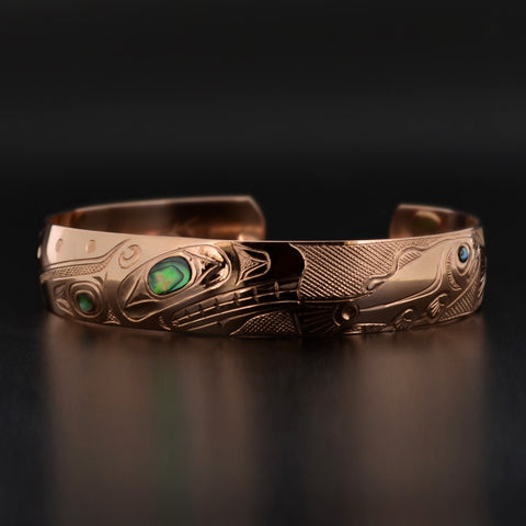 Whale and Salmon - 14k Gold Bracelet with Abalone