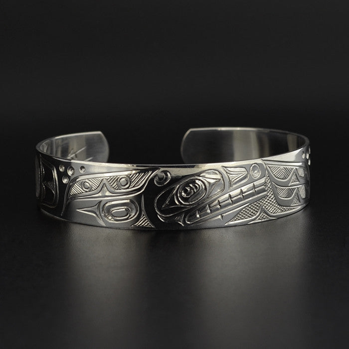 Killerwhale and Ravens - Silver Bracelet