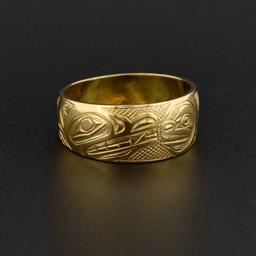 Wolf and Moon - 14k Gold Ring