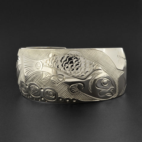 Salmon Life Cycle - Silver Bracelet