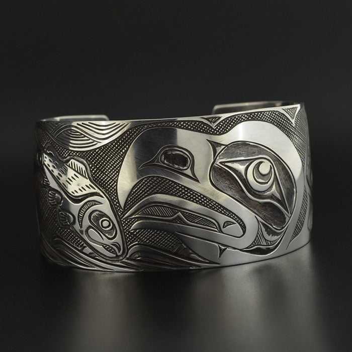 Eagle and Salmon - Silver Bracelet