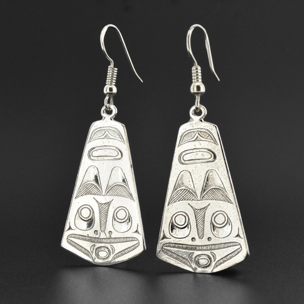Raven and Frog - Silver Earrings