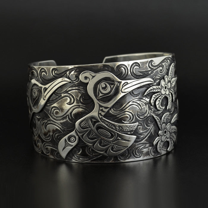 Hummingbirds - Silver Bracelet with Oxidization