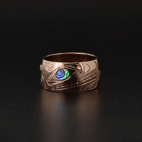 Killerwhale - 14k Rose Gold Ring with Abalone
