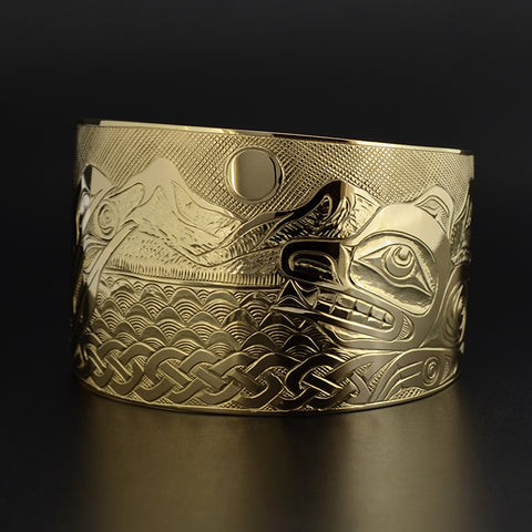 Raven and Bear Landscape - 14k Gold Bracelet